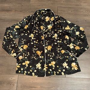 F21 Black with yellow floral print pajama top
